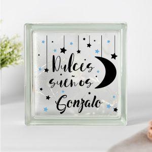 """Lámpara personalizada Bebé """"Dulces sueños"""" Estrellas azules"""