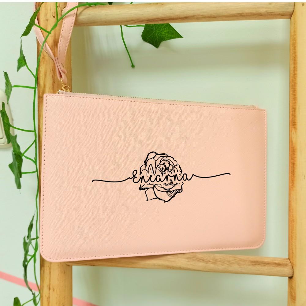 Cartera de mano con diseño rosa personalizada con nombre